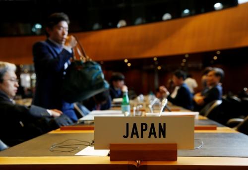 ▲24일(현지시간) 스위스 제네바에서 열린 WTO일반이사회에 일본 표시가 보인다. 제네바/로이터연합뉴스