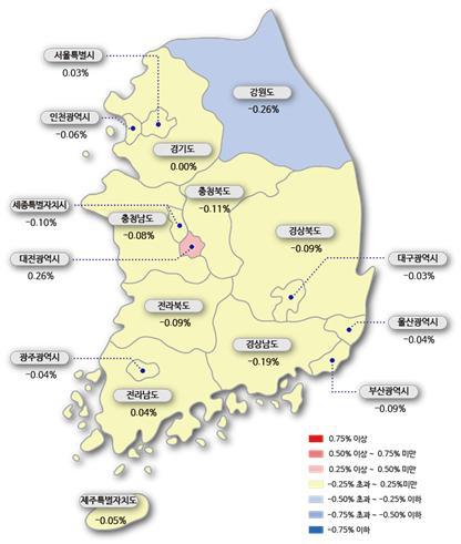 ▲시도별 아파트 매매가격지수 변동률(자료제공=한국감정원)