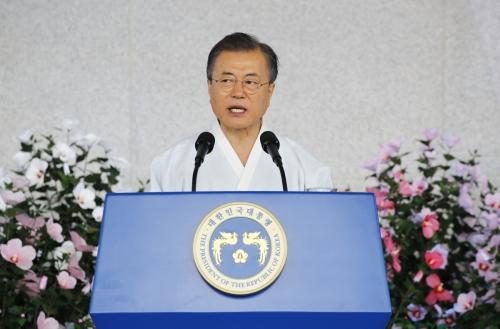 ▲문재인 대통령이 15일 천안 독립기념관에서 열린 광복절 경축식에서 축사를 하고 있다. 연합뉴스