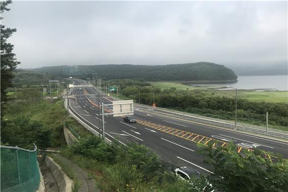 ▲보령-청양(제1공구)도로건설공사 개통구간 전경.(출처=국토교통부)