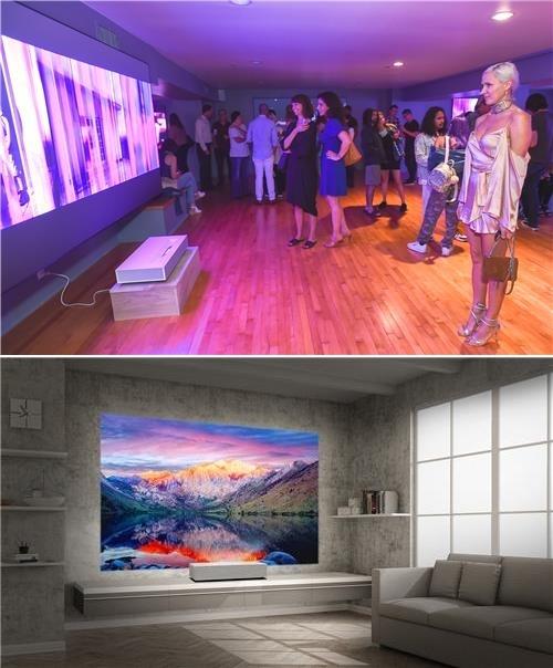 ▲현지시간 24일 미국 산타모니카에서 관람객들이 '데이비드 반 에이슨'의 디지털 아트 작품을 'LG 시네빔 레이저 4K'를 통해 감상하고 있다. (사진제공=LG전자)