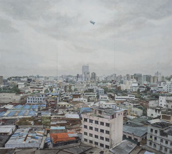 ▲정재호, 난장이의 공, 2018, 한지에 아크릴, 600×450(cm)
