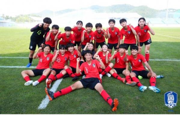 ▲EAFF 15세 이하 여자축구 페스티벌에 출전한 한국 여자축구 대표팀이 한일전에서 2-1로 승리했다. (사진제공=대한축구연맹)