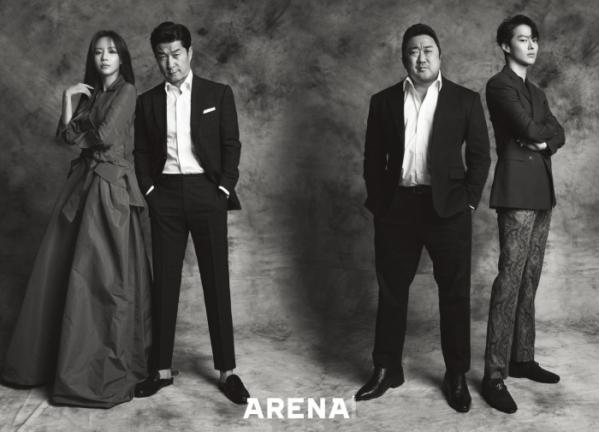 ▲영화 '나쁜 녀석들' 주인공 김아중(왼쪽부터), 김상중, 마동석, 장기용의 화보가 공개됐다.(사진제공=아레나)