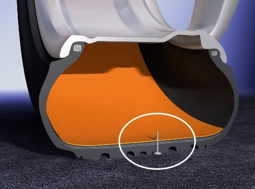 ▲펑크 수리 킷은 액체형 실런트가 응고체(붉은색)로 변하면서 타이어 안쪽 구멍(원 안)을 메우는 방식이다. (출처=뉴스프레스)