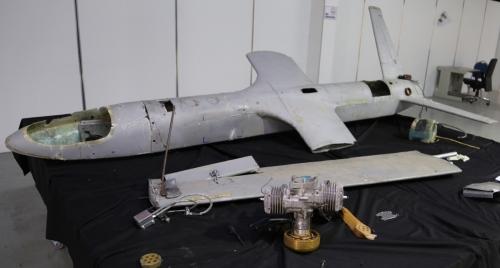 ▲예멘 후티 반군이 운용하는 UAV-X 드론. AP연합뉴스