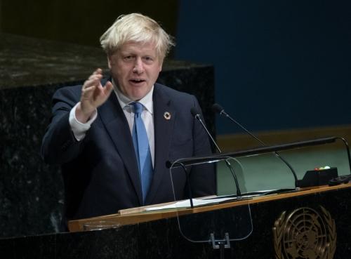 ▲보리스 존슨 영국 총리가 24일(현지시간) 미국 뉴욕 소재 유엔본부에서 열린 74회 유엔총회에 참석해 연설하고 있다. 뉴욕/AP연합뉴스