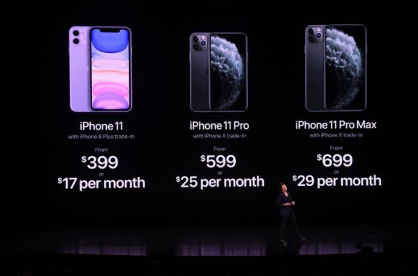 ▲10일(현지시간) 데어드레이 오브라이언 애플 수석부사장이 캘리포니아에서 애플 신작인 아이폰11 시리즈를 발표하고 있다.(AFP연합뉴스)