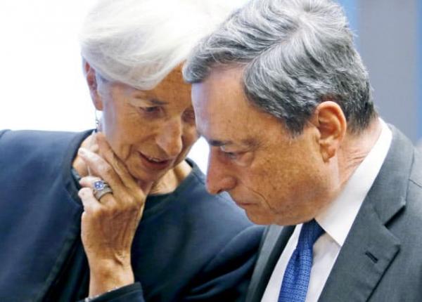 ▲크리스틴 라가르드 차기 ECB 총재와 마리오 드라기 현 ECB 총재. (로이터연합뉴스)