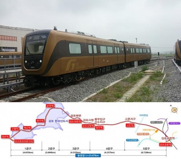 ▲김포도시철도 모습(위)과 김포도시철도 노선도.(자료제공=김포시)