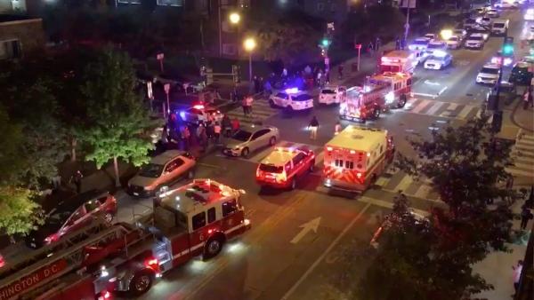 ▲19일(현지시간) 밤 총격사건이 일어난 미국 워싱턴 거리 모습. 로이터연합뉴스