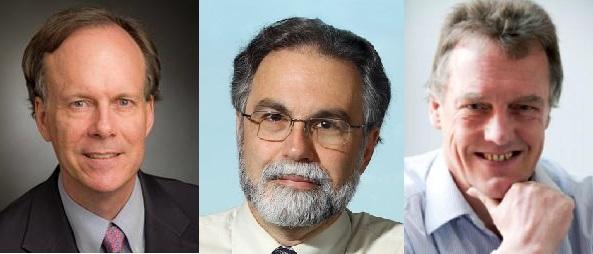 ▲2019년 노벨생리의학상 공동 수상자 윌리엄 캐얼린(왼쪽부터), 그레그 서멘자, 피터 랫클리프. (뉴시스)