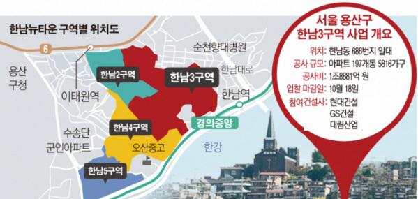 한남3구역 수주전 '3파전'… 현대·대림·GS건설 '한판' 승부
