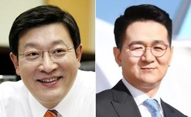 ▲허태수(왼쪽) GS홈쇼핑 부회장과 조원태 한진그룹 회장