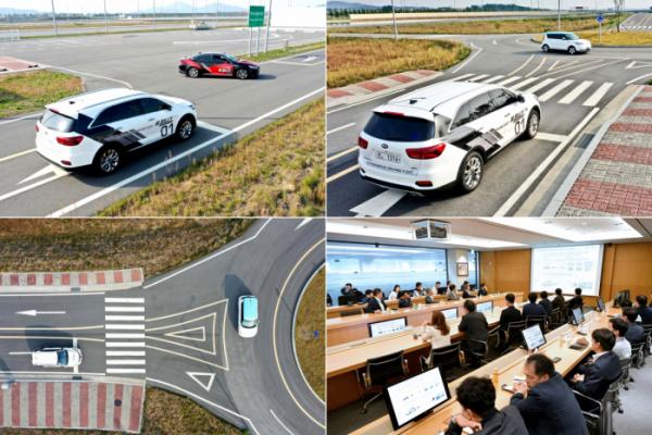 ▲현대모비스는 서산주행시험장에서 KT, 현대엠엔소프트와 함께 5G커넥티드카 기술 공동 개발 성과를 공유하고, 향후 협력 방안을 논의하는 <기술협력성과 시연회>를 개최했다. 사진은 자율주행차에 적용된 5G 커넥티드카 기술이 어떻게 안전하고 효율적인 주행을 돕는지 다양한 시나리오 속에 담아 시연하는 모습.  (사진제공=현대모비스)