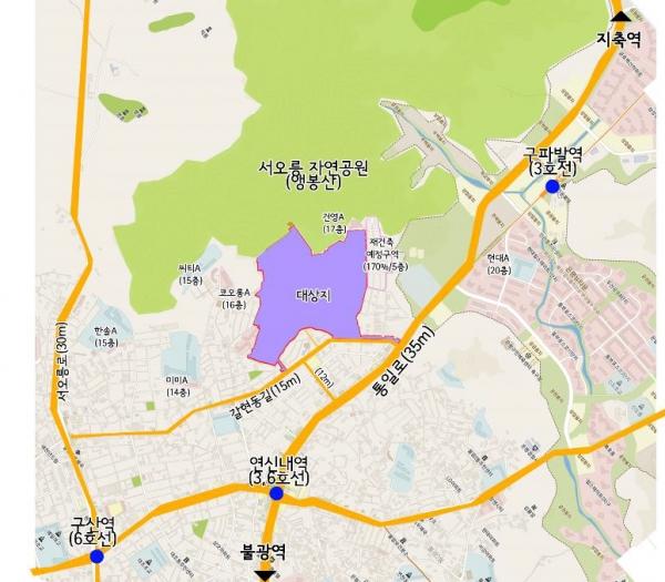▲갈현1구역 위치도. (자료출처=재개발·재건축 클린업시스템)