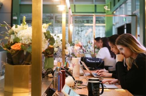 ▲오피스공유업체 위워크가 중국 상하이에서 운영하고 있는 사무실에 사람들이 작업을 하고 있다. 신화연합뉴스