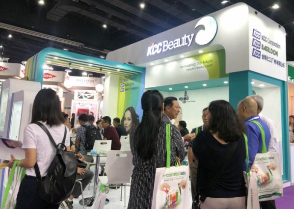 ▲'인코스메틱스 아시아(in-cosmetics Asia) 2019'에 설치된 KCC 부스 (사진제공=KCC)