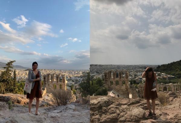 ▲여행 갔던 곳을 또 찾아 사진을 찍는 것은 그의 취미다. 오른쪽이 2년 만에 다시 찾은 그리스.  (사진제공=이민정)
