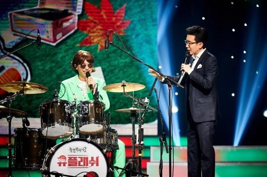 ▲'유플래쉬' 드럼 신동 유고스타(유재석)(사진제공=MBC)