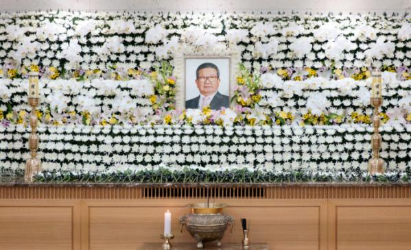 ▲서울 모 대학병원에 마련된 고 구자경 LG그룹 명예회장 빈소. (사진제공=LG그룹)