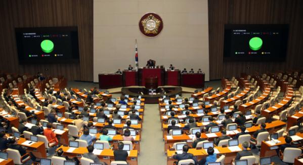▲9일 국회에서 열린 본회의에서 자유한국당 의원들이 불참한 가운데 민생법안이 처리되고 있다.  (연합뉴스)