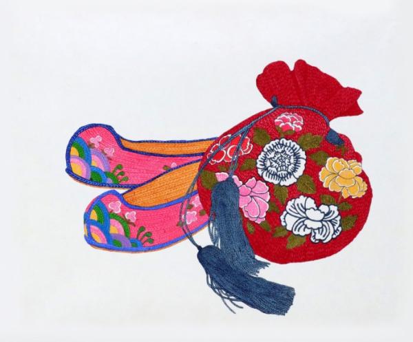 ▲최여진 '女', 장지에 채색, 15.5x37.9cm (사진제공=한국유나이티드제약)
