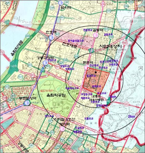▲강동구 둔촌1동 170-1번지 일대 위치도 (사진 = 서울시)