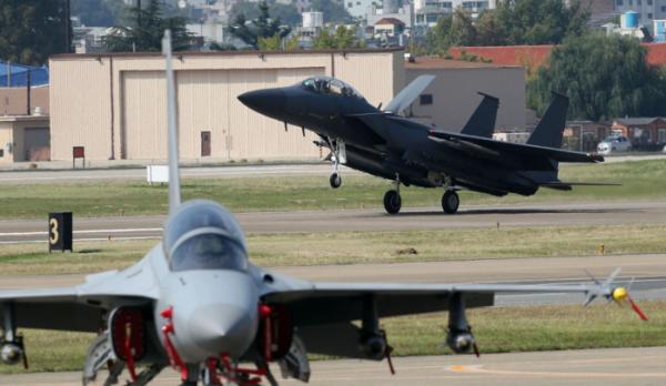 ▲대구 동구 군 공항에서 전투기가 착륙하고 있다. (뉴시스)