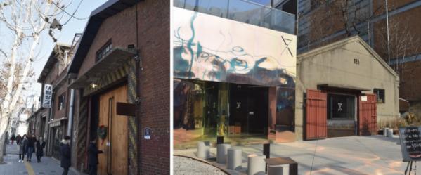 ▲카페거리에 위치한 대림창고(왼쪽)와 인근 카페. 대림창고는 공연과 전시회를 여는 등 새로운 시도로 주목받고 있다.