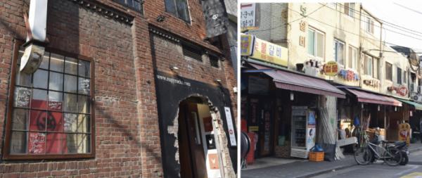 ▲카페거리(왼쪽)와 갈비골목. 최근 갈비골목은 커피전문점 블루보틀 1호점과 체험공간 아모레성수가 들어서면서 20~30대 수요까지 끌어안았다.