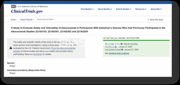 ▲clinicaltrials.gov에서 새롭게 업데이트된 아두카누맙 임상개발 현황.