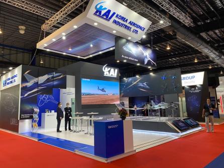 ▲11일부터 16일까지 싱가포르 창이 전시센터에서 열리는 '2020 싱가포르 에어쇼'에 마련된 KAI 부스  (사진제공=KAI)