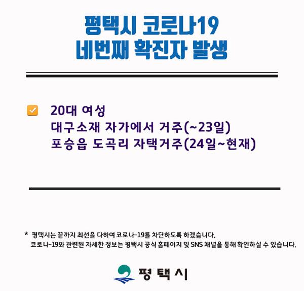 ▲평택시 4번째 확진자 동선 공개. (출처=평택시 블로그`)