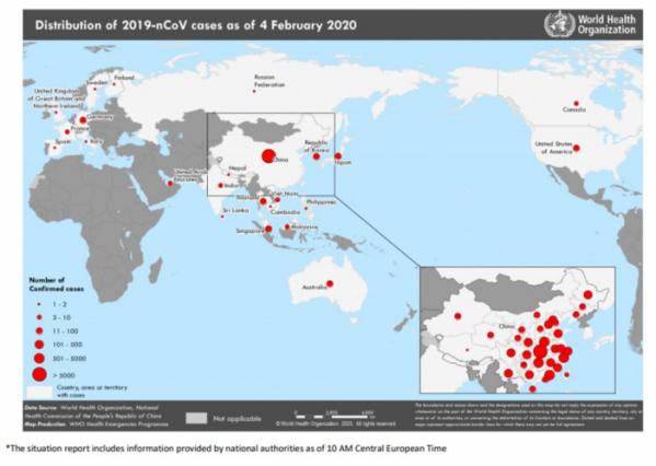 ▲신종 코로나바이러스 확진환자 분포도(WHO 홈페이지 상황보고 참조)