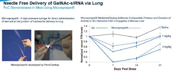 ▲마이크로스프레이를 이용한 RNAi 치료제 전달(앨라일람 발표자료 참조)
