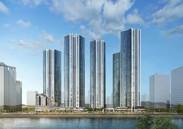 ▲현대건설 '힐스테이트 송도 더스카이' 아파트 투시도. (현대건설)