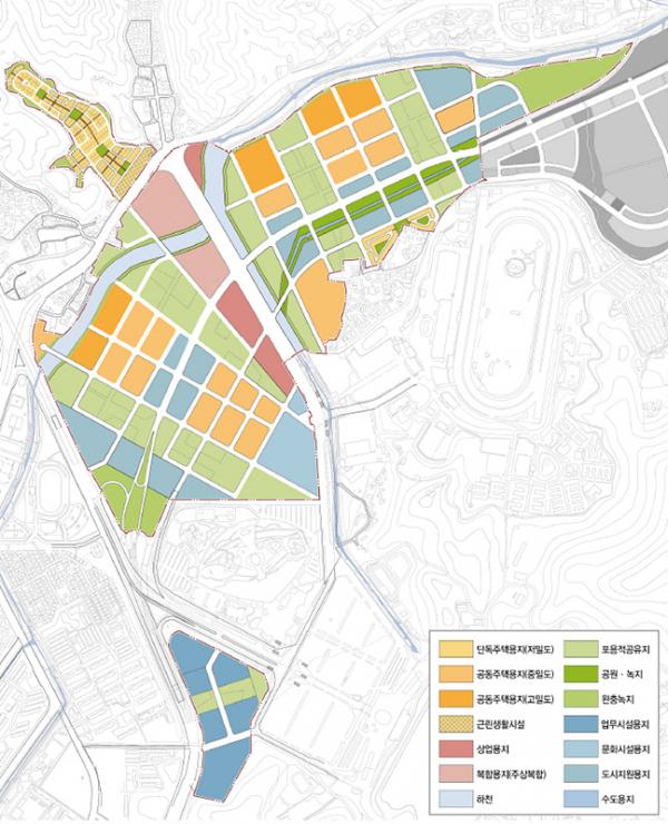 ▲시아플랜건축사사무소 컨소시엄이 제안한 과천신도시 토지이용계획도. (자료 제공=한국도시주택공사(LH))