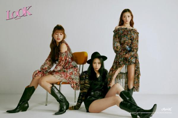 ▲에이핑크 오하영(왼쪽부터) 손나은 윤보미(사진제공=플레이엠)
