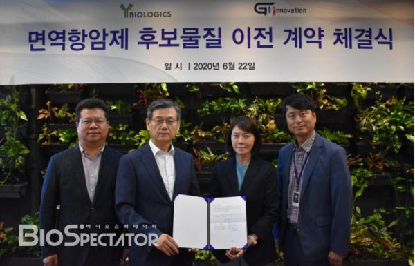 ▲(왼쪽부터) 와이바이오로직스 박범찬 부사장, 박영우 대표, 지아이이노베이션 남수연 대표, 장명호 대표