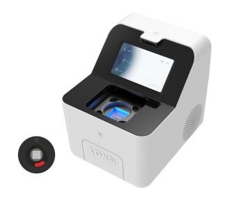 ▲옵토레인 Digtal Real-Time PCR 시스템. Dr.PCR 카트리지(왼쪽), LOAA On-Point Analyzer(오른쪽)