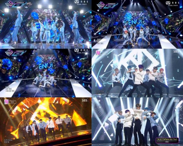 ▲이엔오아이(사진=Mnet '엠카운트다운', SBS '인기가요' 캡처)