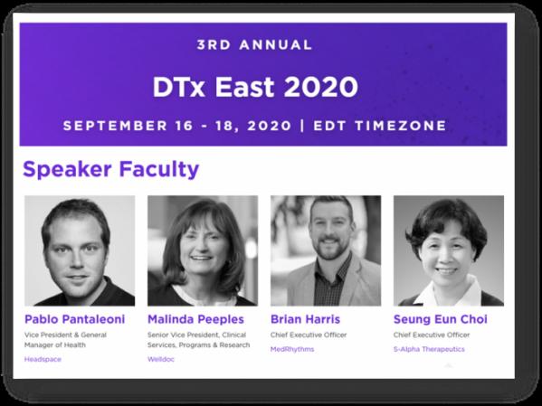 ▲DTx East 2020 발표자 명단, 맨 오른쪽이 에스알파의 최승은 대표, 학회 발표자 명단 중 일부 캡쳐