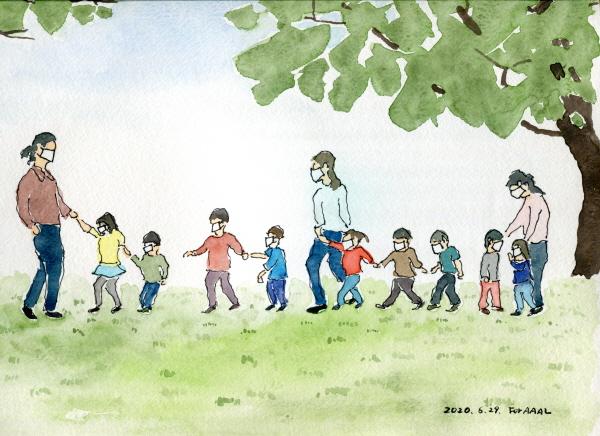 ▲이찬재 씨가 그린 '포스트 코로나 어린이집 산책'(이찬재·안경자 부부 제공)