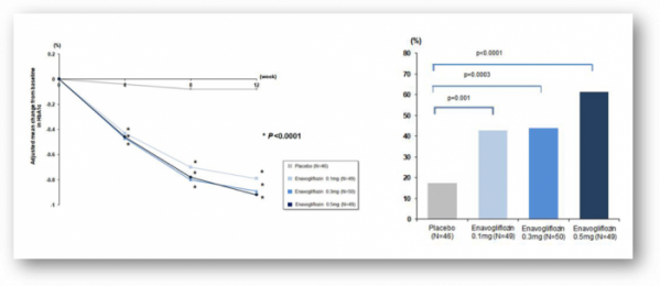 ▲약물 12주 투여전후의 HbA1c 변화(왼쪽), 12차에서 HbA1c