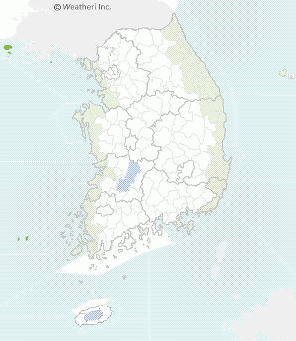 ▲19일 오전 제주, 전북 일부 지역에 호우주의보가 내려졌고, 바다 인근에 강풍주의보가 내려졌다.(사진제공=웨더아이)