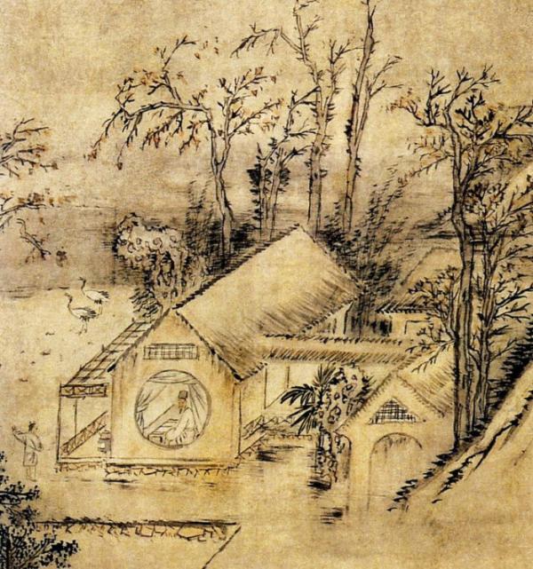 ▲구양수의 글을 그린 김홍도의 '추성부도'(秋聲賦圖) 부분. 왼쪽 하단의 동자가 '가을 소리'에 대해 말하고 있다.