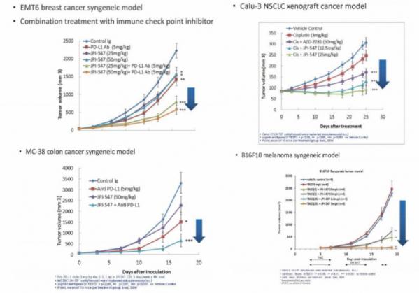 ▲유방암, 비소세포폐암, 대장암, 흑색종 모델에서 JPI-547의 종양감소 효과(온코닉 발표자료 참조)