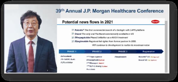 ▲온라인으로 개최된 제39회 JP 모건 컨퍼런스에서 권세창 사장이 한미약품의 2021년 비전과 전략을 발표하고 있다.