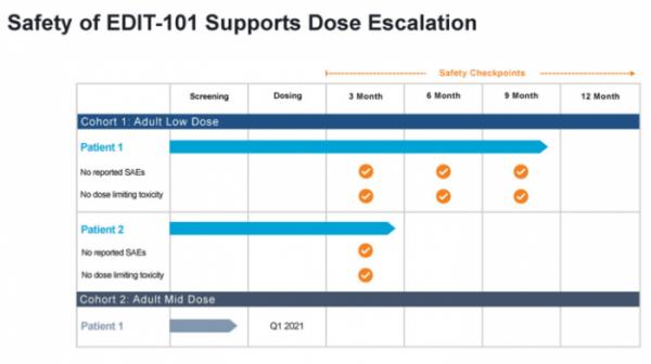 ▲EDIT-101 임상 1상 안전성 데이터 (에디타스 발표자료)